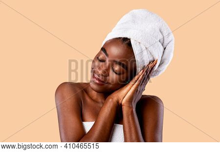 Beauty Sleep Concept. Portrait Of Smiling Young Black Woman Napping, Pretending Sleeping Isolated Ov