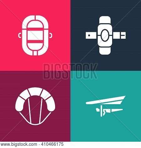 Set Pop Art Hang Glider, Parachute, Knee Pads And Rafting Boat Icon. Vector