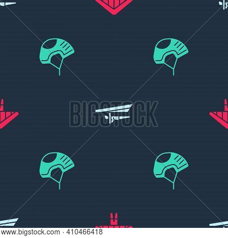 Set Hang Glider, And Helmet On Seamless Pattern. Vector