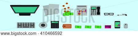 Set Of Bookkeeping Cartoon Icon Design Template With Various Models. Modern Vector Illustration Isol