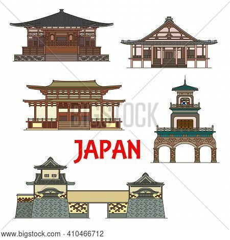 Japan Landmarks And Temples, Japanese Towers, Gates And Pagodas, Vector Icons. Muro-ji Temple In Uda