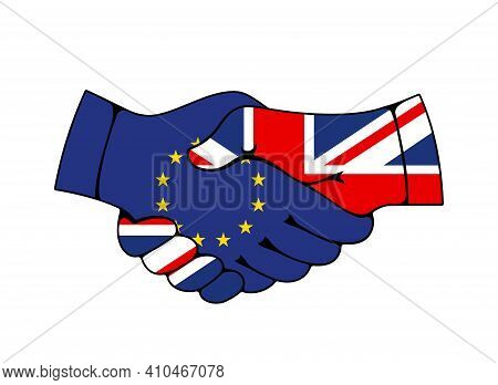 European Union And United Kingdom Trade And Business Agreement. Handshake Of Hands With Eu And Great
