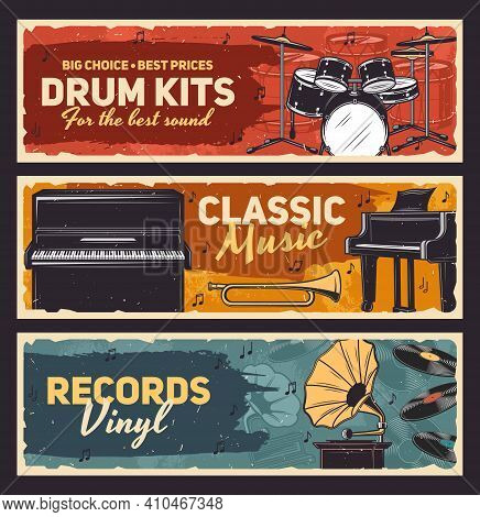Music Instruments Shop Retro Banners. Vinyl Discs, Drums Kit And Grand Piano, Trumpet, Antique Phono