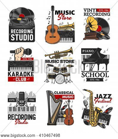 Music Isolated Icons With Vector Musical Instruments, Microphones, Vinyl Records And Vintage Gramoph