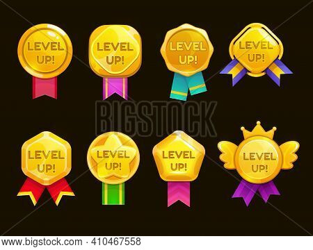Level Up Ui Game Icons, Casino Bonus Vector Stars, Golden Labels With Award Ribbons. Medal For Achie