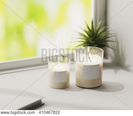 Scented Candle With Blank Label Mockup, Burning White Aromatic Candles In Glass On White Surface Wit