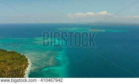 Sandy Beach And Tropical Islands By Atoll With Coral Reef, Top View. Patongong Island With Sandy Bea
