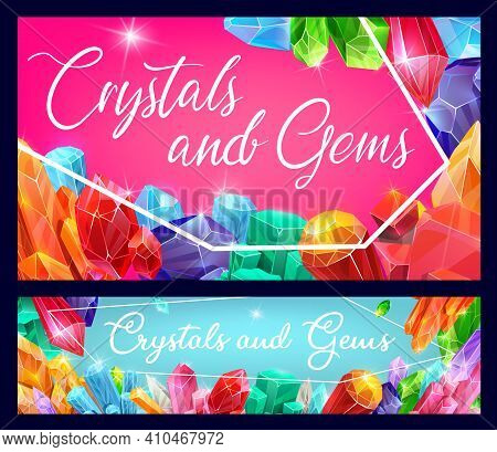 Precious Stones, Gems And Shiny Crystals. Gemstones With Reflecting Facets, Diamond Cut And Magical