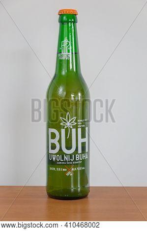Pruszcz Gdanski, Poland - March 1, 2021: Buh Beer With Hemp Dried.