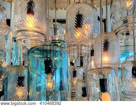 Close Up Of Old-fashioned Glass Mason Jars Lighting Fixture
