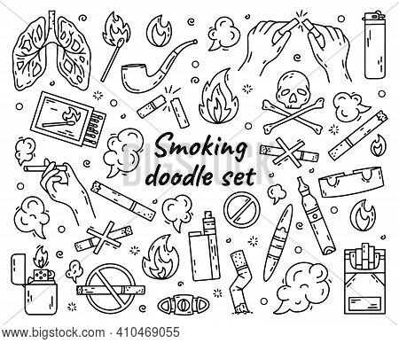Cigarette Smoking Outline Vector Set In Doodle Style, Hand Drawing. The Concept Of Bad Habits With T
