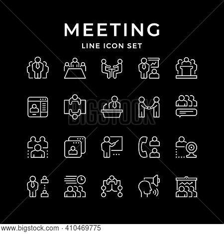 Set Line Icons Of Meeting Isolated On Black. Company Teamwork, Business Presentation, Partner Handsh
