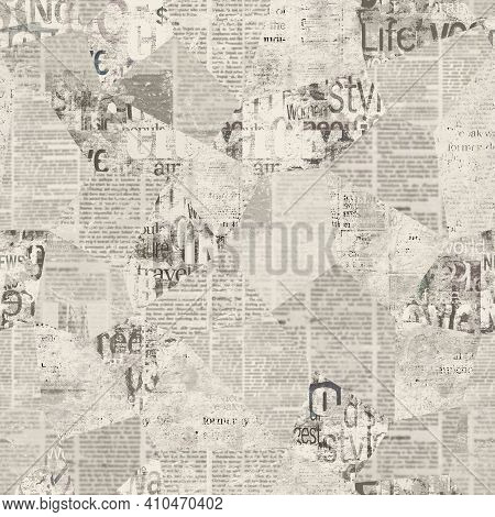 Newspaper Paper Grunge Newsprint Patchwork Seamless Pattern Background. Trendy Imitation Sewn Pieces