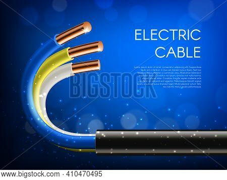 Electric Cables Laying, Electricity Supply Banner. Electricity Line Cable Wires In Black Jacket, Whi