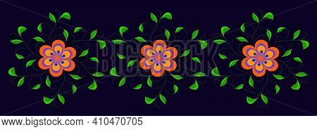 Abstract Vector Flowers. Blue And Orange Flowers Background. Floral Ornament. Vector Illustration