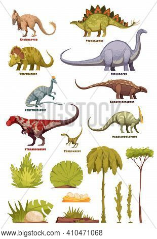Different Types Of Dinosaurs In Cartoon Style With Name Of Class And Flora Landscape Elements Isolat