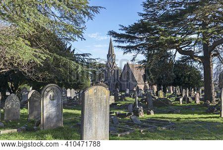 Weston-super-mare, Uk - February 25, 2021: Milton Road Cemetery