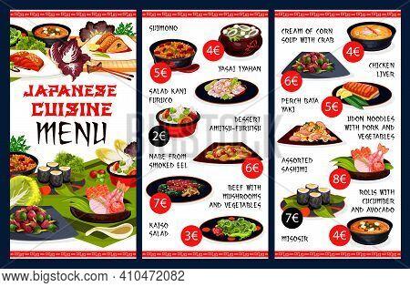Japanese Cuisine Food Menu, Japan Restaurant Seafood And Noodles Udon, Vector. Japanese Cuisine Meat