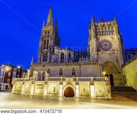 Gothic Cathedral Of Burgos At Night. Wide-angle Photo. Spain