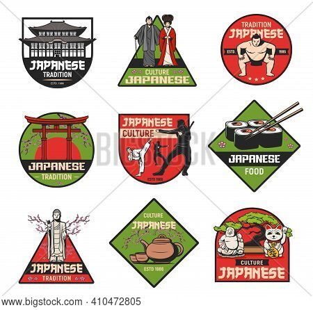 Japanese Culture And Traditions Vector Retro Icons. Japan Famous Landmarks, Sightseeing, Touristic A