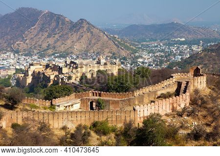 Amber Fort Near Jaipur City, Rajasthan, India, View From The Upper Fortress On Amber Palace And Town