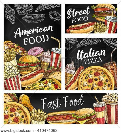American Fastfood Posters, Sketch Takeaway Fast Food Vector Burger, Hot Dog, Pizza And Soda Drink. F