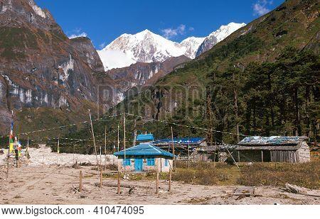 Small Temple With Buddhist Prayer Flags In Makalu Barun National Park, Trek To Mount Makalu Base Cam