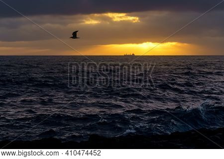 Freighter Ship In The Distance Above The Sea Horizon On A Sunset With Dramatic Sky. Gran Canaria. Sp