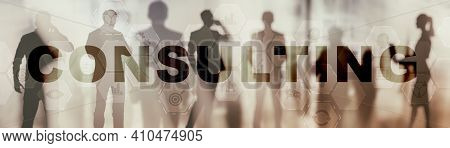 Consulting Business Concept. Inscription Text And Icons On Website Banner Background