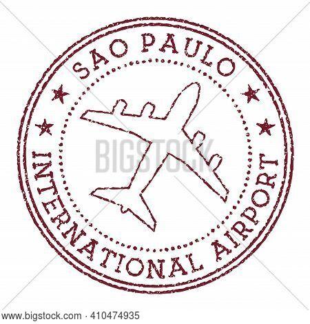 Sao Paulo International Airport Stamp. Airport Of Sao Paulo Round Logo. Vector Illustration.