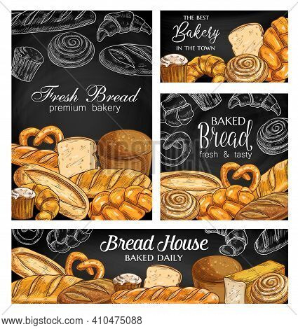 Bakery Bread Chalkboard Sketch Banners. Wheat Vienna And Rye Pullman Bread, Loaf, Challah And Baguet