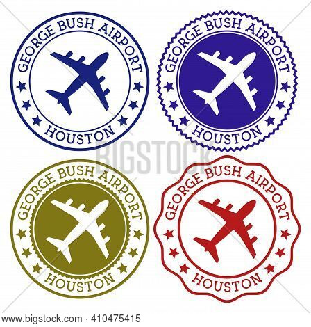 George Bush Airport Houston. Houston Airport Logo. Flat Stamps In Material Color Palette. Vector Ill