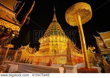 Chiang Mai Thailand-january 31 : Wat Phra That Doi Suthep Gold Pagoda And Golden Buddhist Landmark T