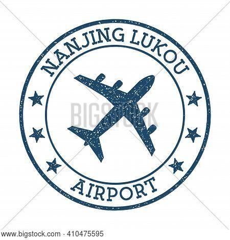 Nanjing Lukou Airport Logo. Airport Stamp Vector Illustration. Nanjing Aerodrome.