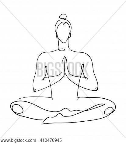 Continuous Graphic Drawing Of One Line. The Meditating Man Sits In The Lotus Position. The Concept O