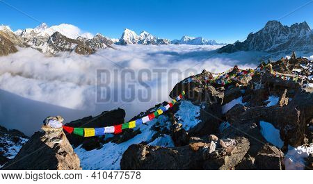 View From Gokyo Ri To Mounts Everest Makalu And Lhotse With Buddhist Prayer Flags, Trek To Everest B
