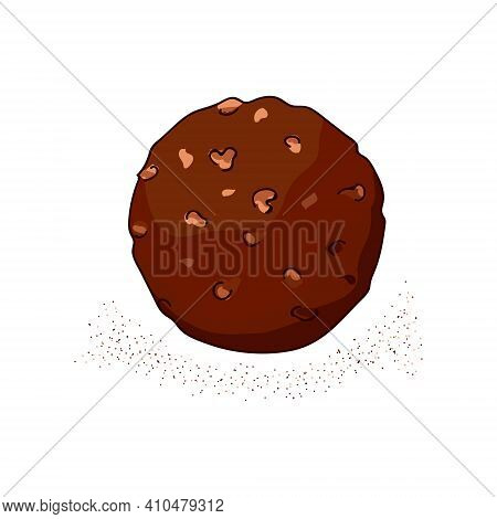 Round Chocolate Candy With Nuts. Logo For The Confectionery, Cafe, Bakery. Hand Drawing. Vector Illu