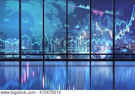 Global Stock Market Concept With Digital Glowing Screen With World Map Scheme, Diagram And Financial
