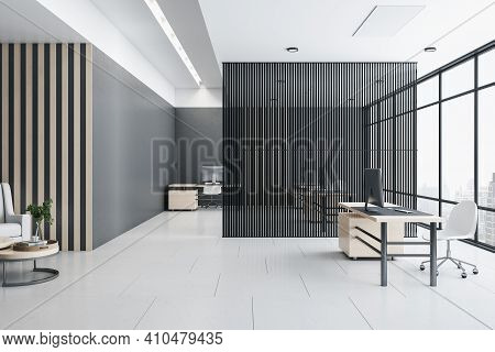 Eco Style Interior Zoning Concept With Black Partition Between Workplaces In Modern Open Space Offic