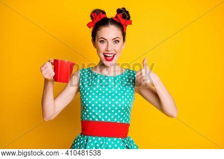 Positive Girl Show Thumb Up Sign Caffeine Beverage Mug Wear Turquoise Skirt Isolated Shine Color Bac