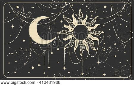 Magic Banner For Astrology On A Cosmic Background, Fortune Telling, Magic. Divine Universe, Crescent