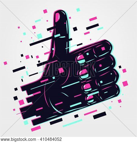 Hand Sign. Human Arm, Like Icon. Glitch Style Illustration. Neon Color Vector Background. Fingers Sy