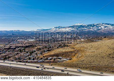 Reno, Nevada Usa - February 28, 2021: City Of Reno Nevada Cityscape Showing The Downtown Skyline Wit