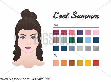 12 Seasons Color Types For Woman - Cool Summer Type. Perfect Color For Your Wardrobe. Do And Do Not