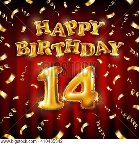 14 Happy Birthday Message Made Of Golden Inflatable Balloon Fourteen Letters Isolated On Red Backgro