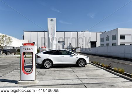 HAWTHORNE, CALIFORNIA - 17 FEB 2020: Tesla Supercharger station at the Tesla Design Center, at SpaceX.
