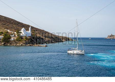 Ios, Greece - September 26, 2020: Yacht Sailing On Aegean Sea Near Ios Island In Greece.