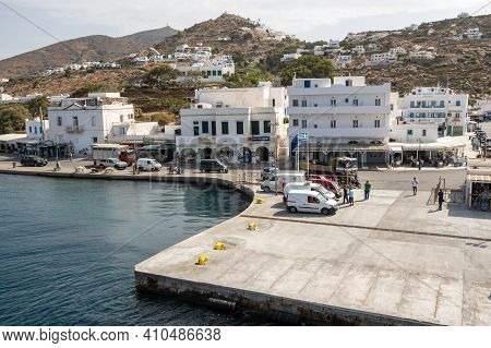 Ios, Greece - September 26, 2020: View Of City And Port Of Ios Island. Cyclades Islands, Greece