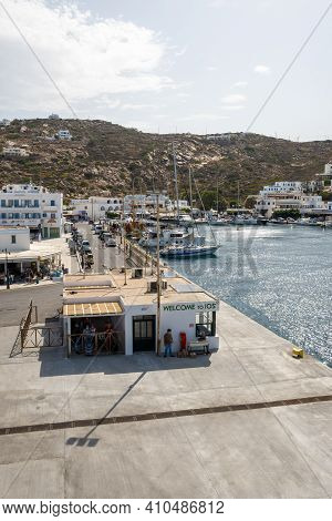 Ios, Greece - September 26, 2020:port Of Ios, A Greek Island In The Cyclades Group In The Aegean Sea