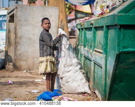Jaipur, India. 09-05-2018. Young Girl Works Searching The Garbage For Plastic Or Any Other Recyclabl